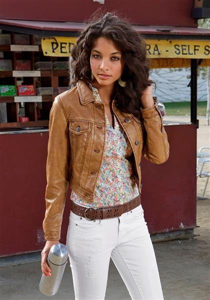Джинсовоя куртка коричневая