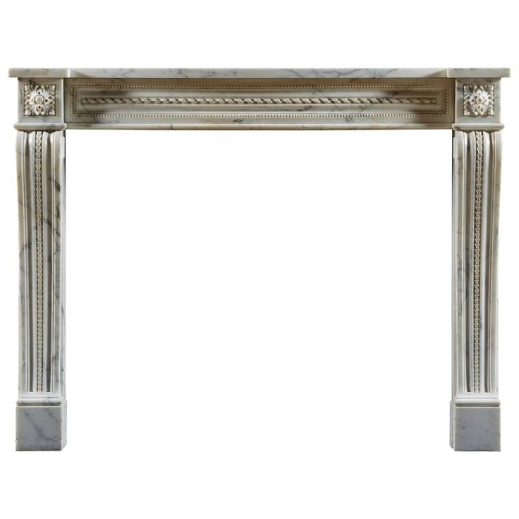 Antique Louis Xvi Style Marble Fireplace Mantel