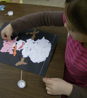 Kinder students are making snowmen! We are using our fingers to tear paper instead of scissors. This gives the paper texture, somewhat like the texture ice crystals have.