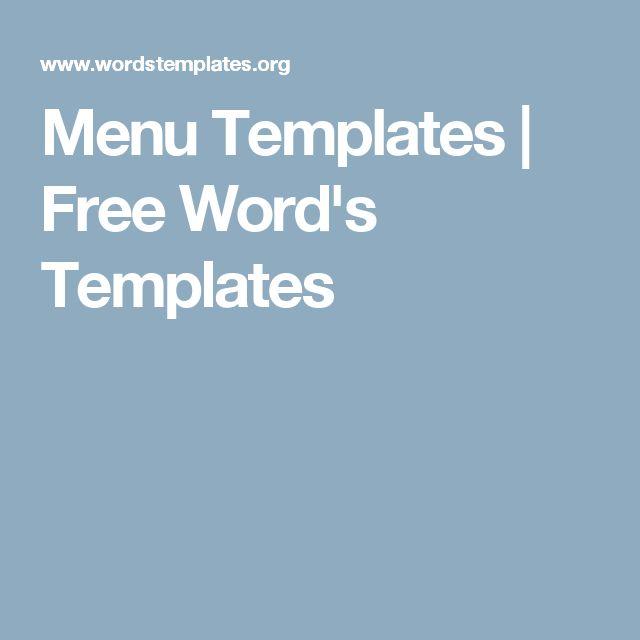 17 parasta ideaa Free Menu Templates Pinterestissä - menu templates free microsoft