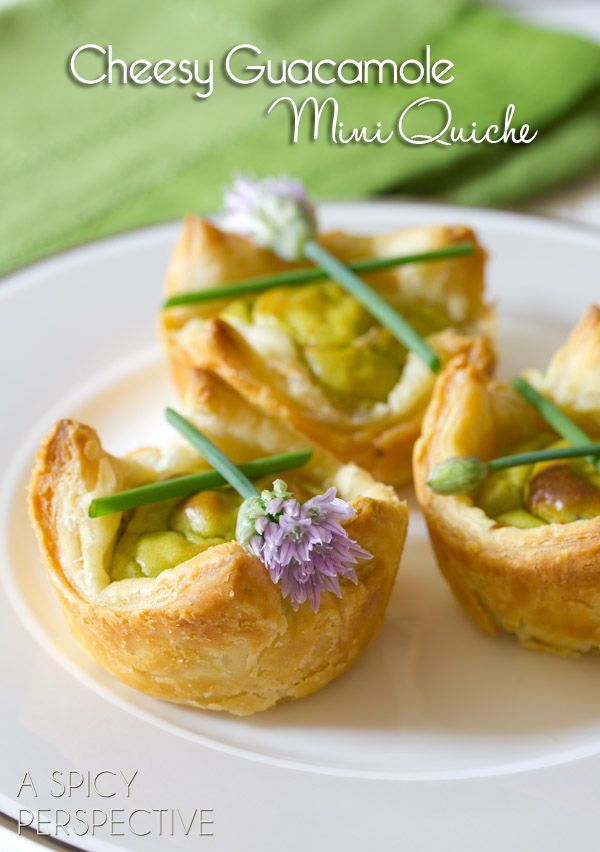 Wholly Guacamole Mini Quiche | Perfect for Brunch! A quick and easy mini quiche recipe using puff pastry and Wholly Guacamole. The smooth creamy avocado essence makes these little tender bites really sing! | From: ASpicyPerspective.com