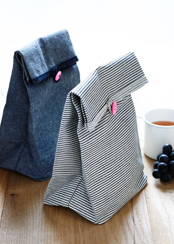 diy fabric button lunch bags