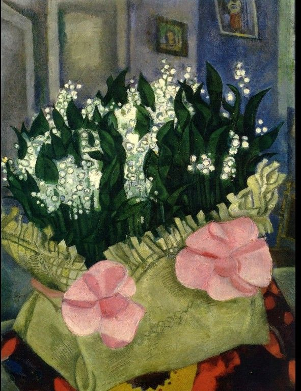 Lilies of the Valley. Marc Chagall, 1916. Oil on cardboard, painted in Saint Petersburg. Tretyakov Gallery, Moscow.