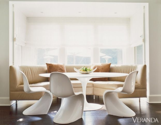 Traditional mixes with modern in this casual dining area.