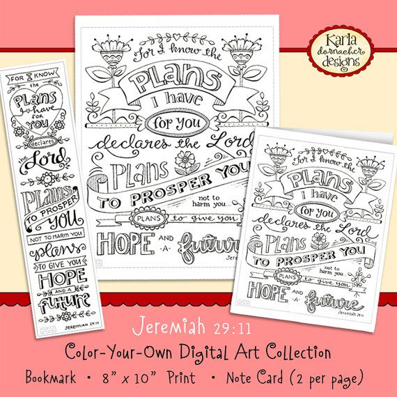 Jeremiah 29:11 Coloring Collection Bookmarks by karladornacher