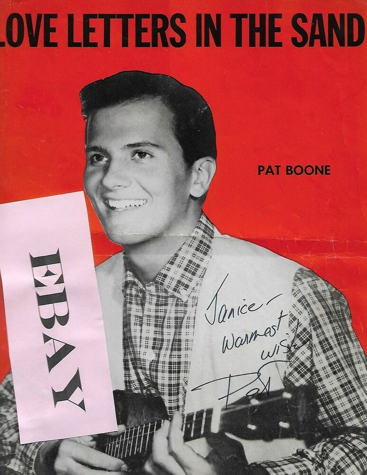 Pat Boone signed personalized sheet music LOVE LETTERS IN