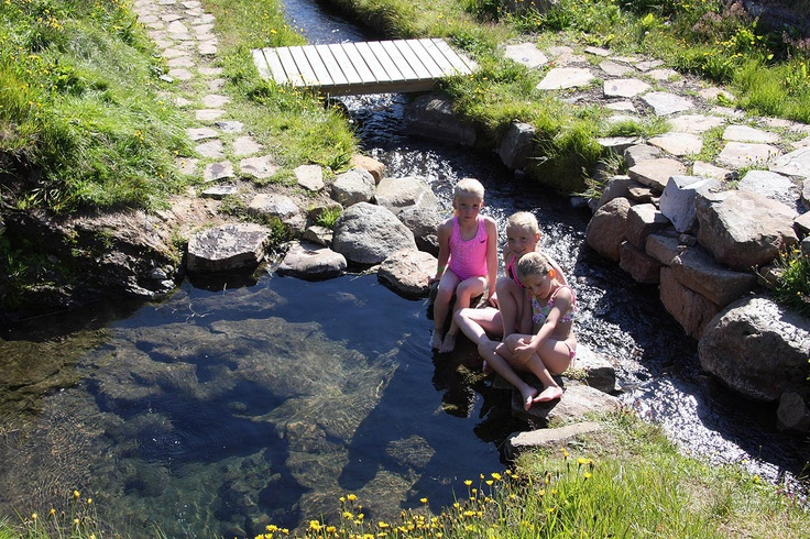 The wonderful geothermal hot spring in Laugarhóll in Bjarnarfjörður is such an amazing place for all ages. The small stream behind the children is also warm. Such a lovely place to spend the day.
