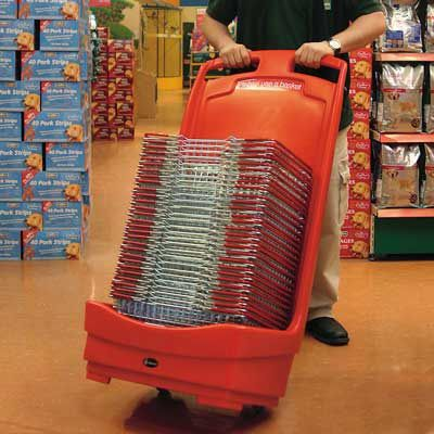 Mobile Basket Buddy™ has two rear-mounted wheels and integral handles, ensuring the unit is easy to move around the store. #GlasdonUK #StorageUnit #BasketHolder