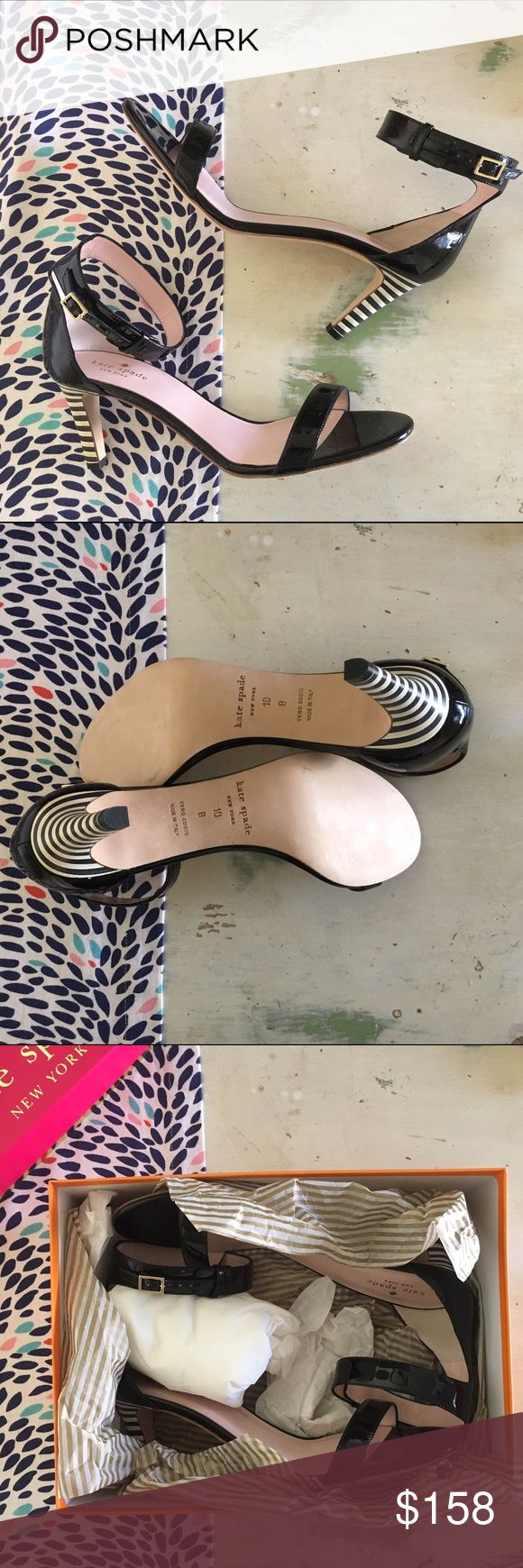 """PARTY PRICE🎉KATE SPADE•""""Elsa"""" Striped Heel Sandal Absolutely darling for spring (and the rest of the year!) Includes dust bag & box. 💕 kate spade Shoes Sandals"""