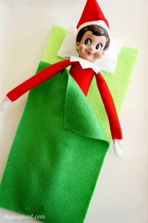 Easy to make (and cheap) Elf on the Shelf no sew Sleeping Bag for when your Elf needs a rest!