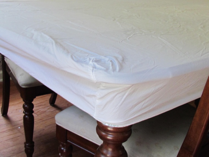 Easy way to keep your tablecloth from slipping around the tableNeat O' Ideas