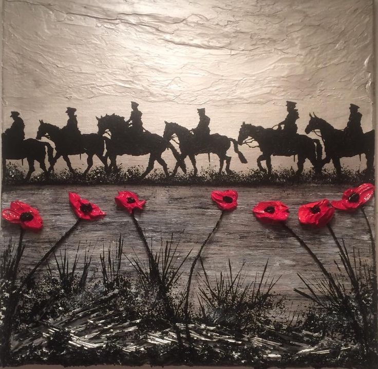 """For Heroes And Horses, The Poppies Grow"" by Jacqueline Hurley War Poppy Collection 1914-1918 No.3 WW1 remembrance painting #Expressionism #impasto #Impressionism #silhouette #TheGreatWar #British"