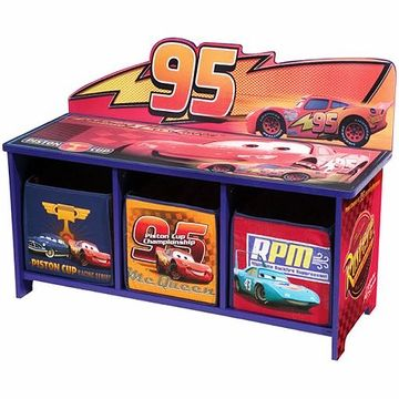 Disney Cars Toy Bench With Back And 3 Bins