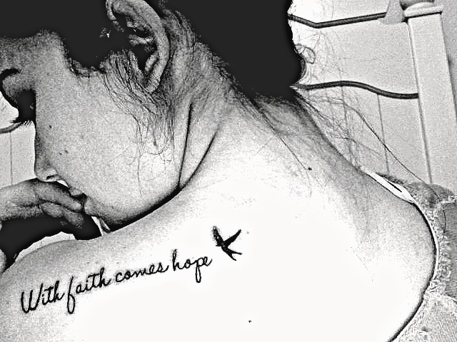 With faith comes hope. i got this in memory of my dad who passed away from cancer <3