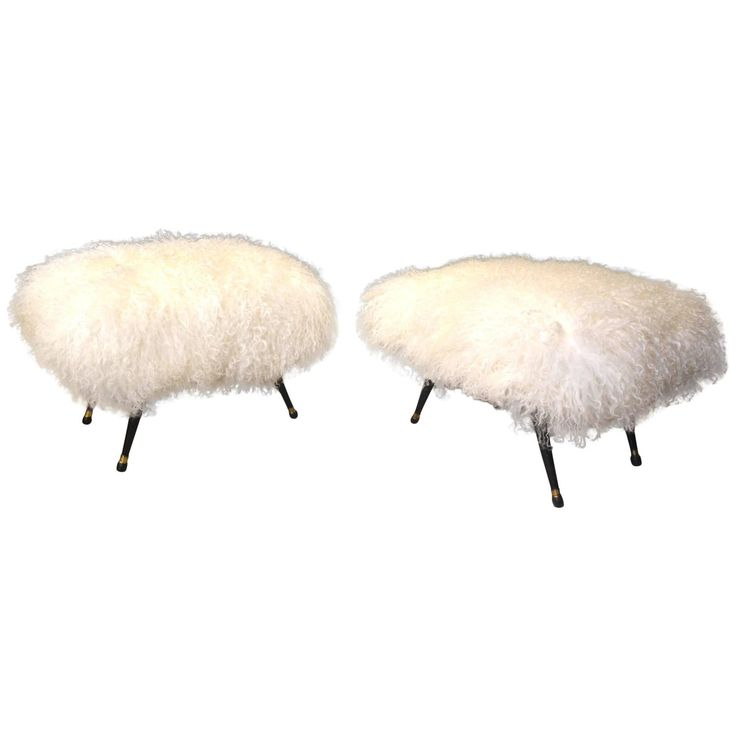 Fantastic Pair of Italian Stools Reupholstered Tibet Lamb Fur, circa 1960 | See more antique and modern Stools at https://www.1stdibs.com/furniture/seating/stools