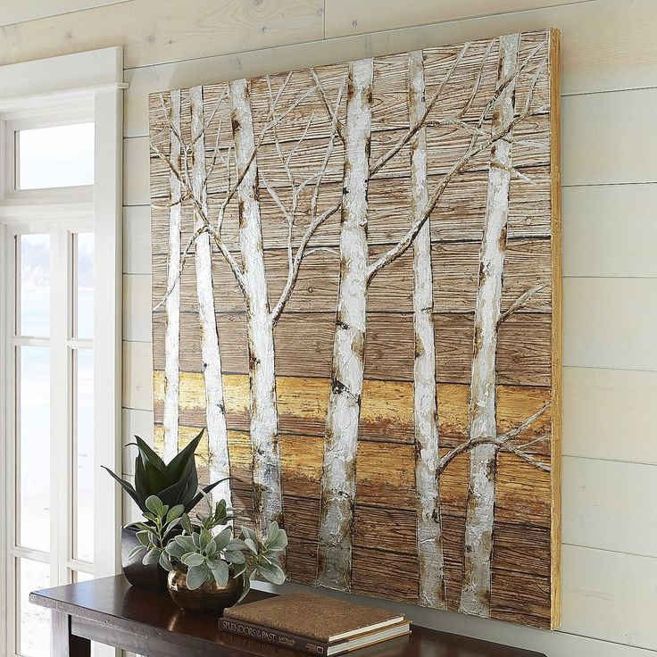 Birch Trees Wooden Plank Art | Pier 1 Imports