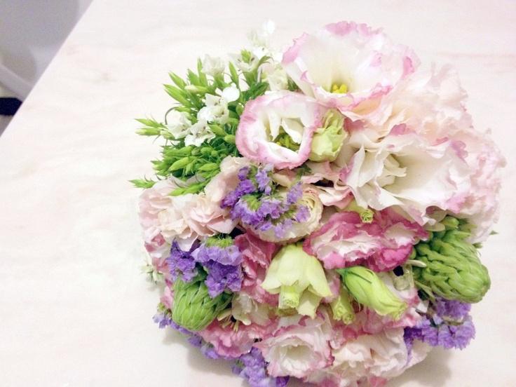 Pink Bridal Bouquet - Pink Lilac Lavender Purple Lisianthus Eustoma Star of Bethlehem Silk Wedding Bouquet - Custom Wedding Flowers. $115.00, via Etsy.