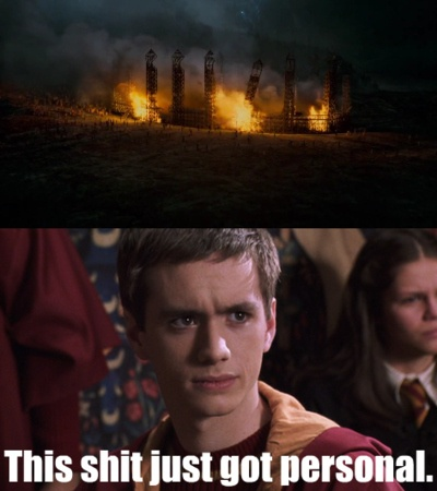 """It's all fun and games until the Death Eaters blow up the Quidditch Pitch, right Oliver? 