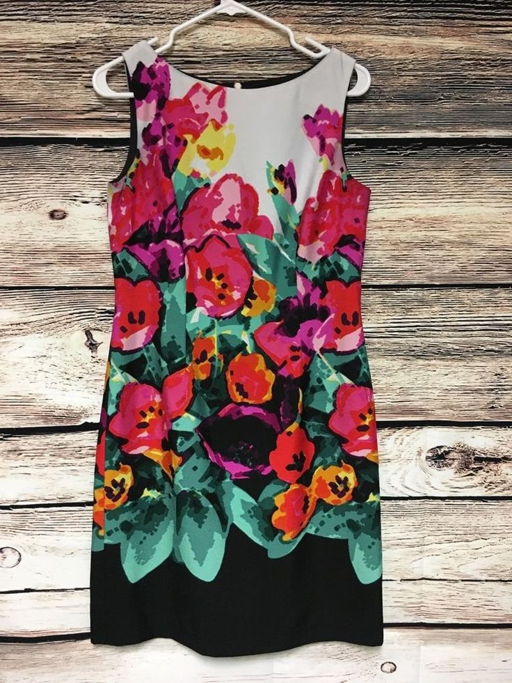 Adrianna Papell Size 8 Floral Shift Dress Sleeveless Knee Length #AdriannaPapell #Shift #Cocktail