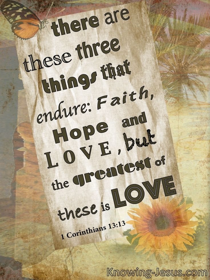 1 Corinthians 13:13 (KJV) ~ And now abideth faith, hope, charity, these three; but the greatest of these is charity.