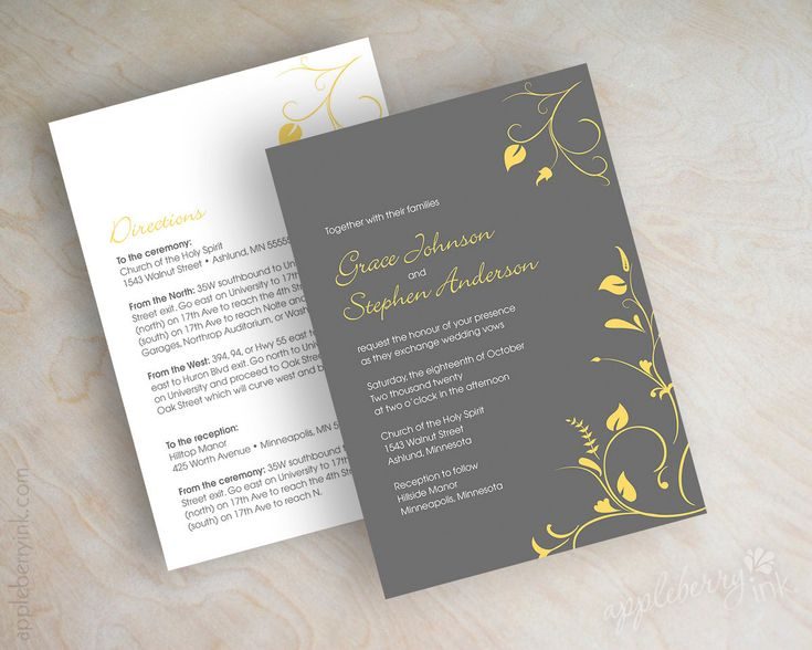 Simple wedding invitations, contemporary floral vines in charcoal gray and golden yellow. $59.00, via Etsy.