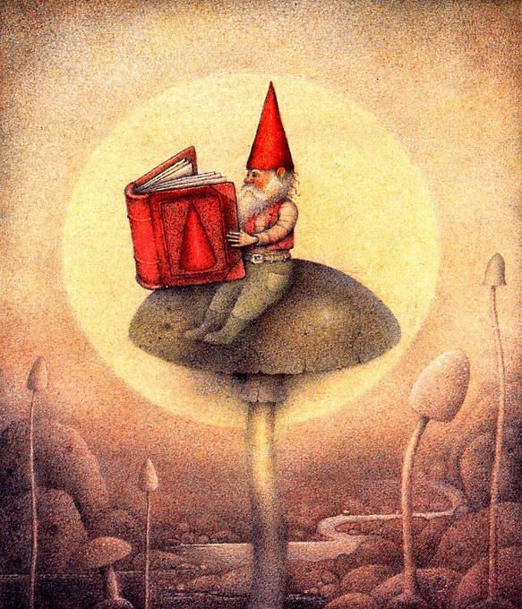 Reading gnome © Wayne Anderson (Artist, USA).  Red Hat, Book, Toadstool, Mushroom, Seat.