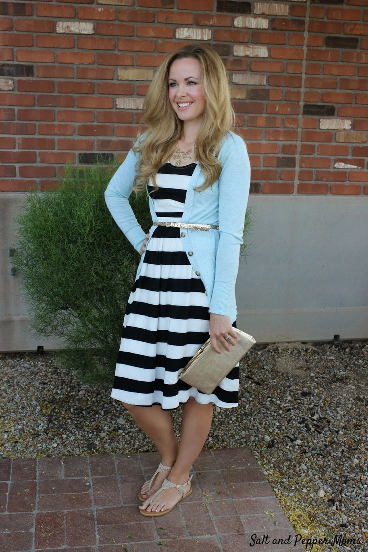 Spring Fashion Trends with Rack Room Shoes - Devin's Picks. Black and white striped dress with a mint cardigan, gold accessories, and neutral jeweled sandals.