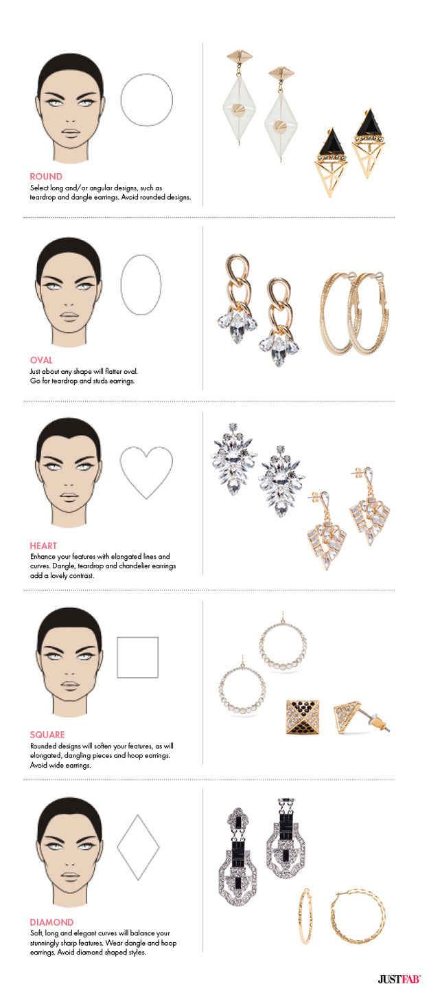 Choose earrings that work best with your face shape.