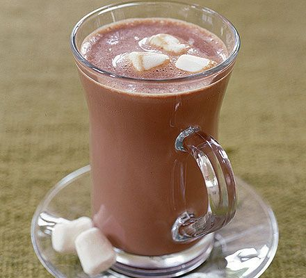 Deluxe hot chocolate with marshmallows. A real treat for chocolate lovers - use 70% cocoa solids or milk chocolate depending on how chocolately you and the kids like it