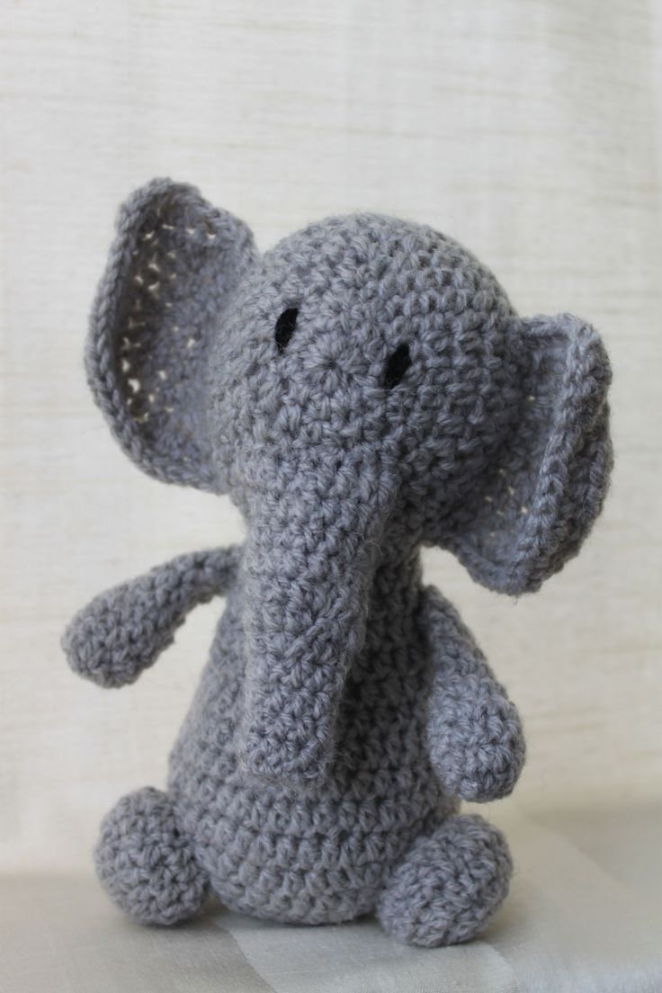 Ella the elephant. Amigurumi plush animal. The animal is approximately 20 cm tall.
