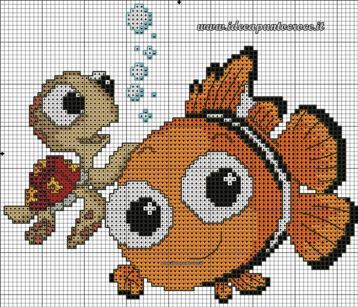 Nemo & Turtle cross stitch 2-3