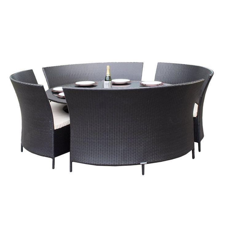 Regent 8 Seat Black Circular Outdoor All Weather Rattan Garden Bench Dining Set Amazon