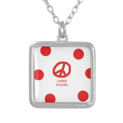 Uzbek Language And Peace Symbol Design Silver Plated Necklace - jewelry jewellery unique special diy gift present