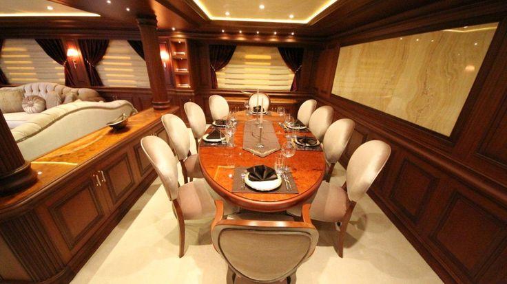 Backlit honey onyx in the yacht