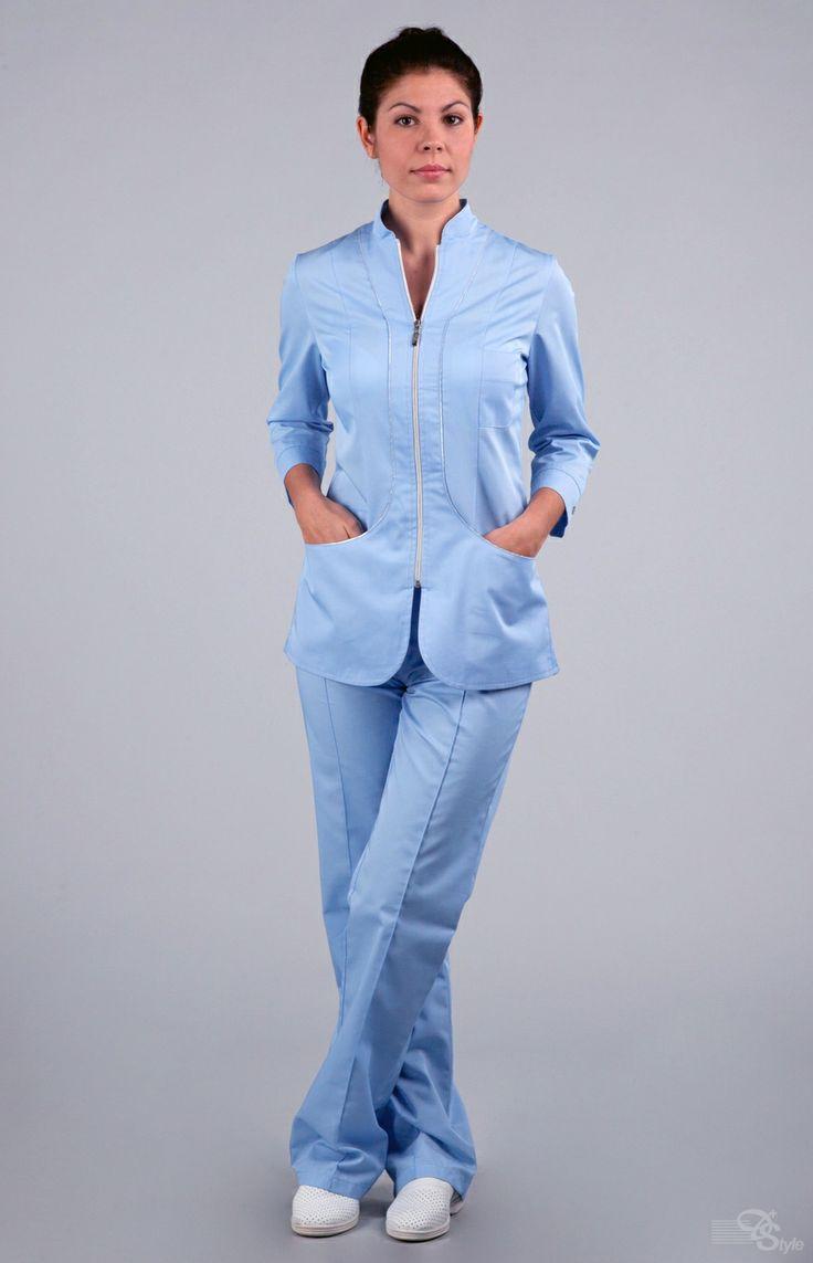 "Блуза медицинская женская ""Жасмин"" голубая"