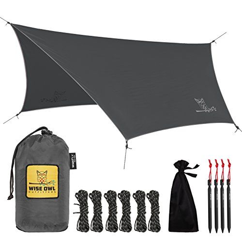 Rain Fly Tarp - The WiseFly by Wise Owl Outfitters - Premium 11 x 9 ft Waterproof Camping Shelter Canopy - Lightweight Easy Setup for Hammock or Tent Camp Gear - Charcoal Grey & Light Grey. For product & price info go to:  https://all4hiking.com/products/rain-fly-tarp-the-wisefly-by-wise-owl-outfitters-premium-11-x-9-ft-waterproof-camping-shelter-canopy-lightweight-easy-setup-for-hammock-or-tent-camp-gear-charcoal-grey-light-grey/