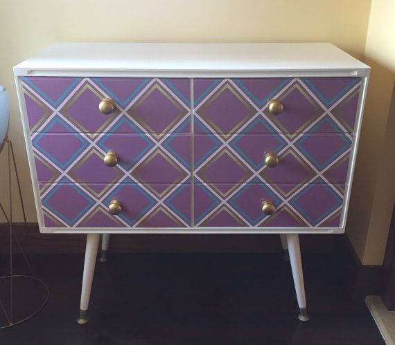 Chest of drawers white with pink, aqua and gold diamond design front