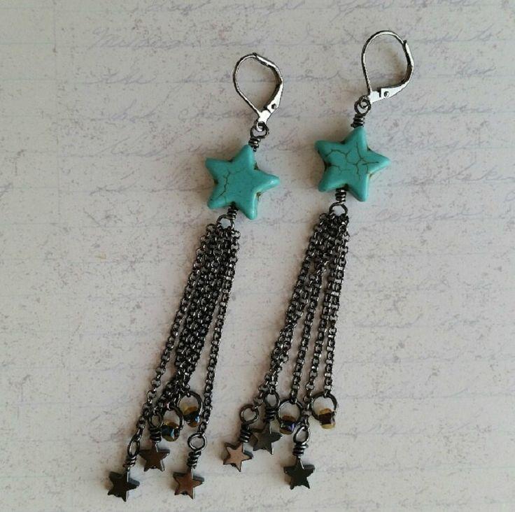 Star Earrings, Turquoise Earrings, Star Jewelry, Turquoise Jewelry, Hematite Earrings, Hematite Jewelry, Boho Earrings, Boho Jewelry - pinned by pin4etsy.com