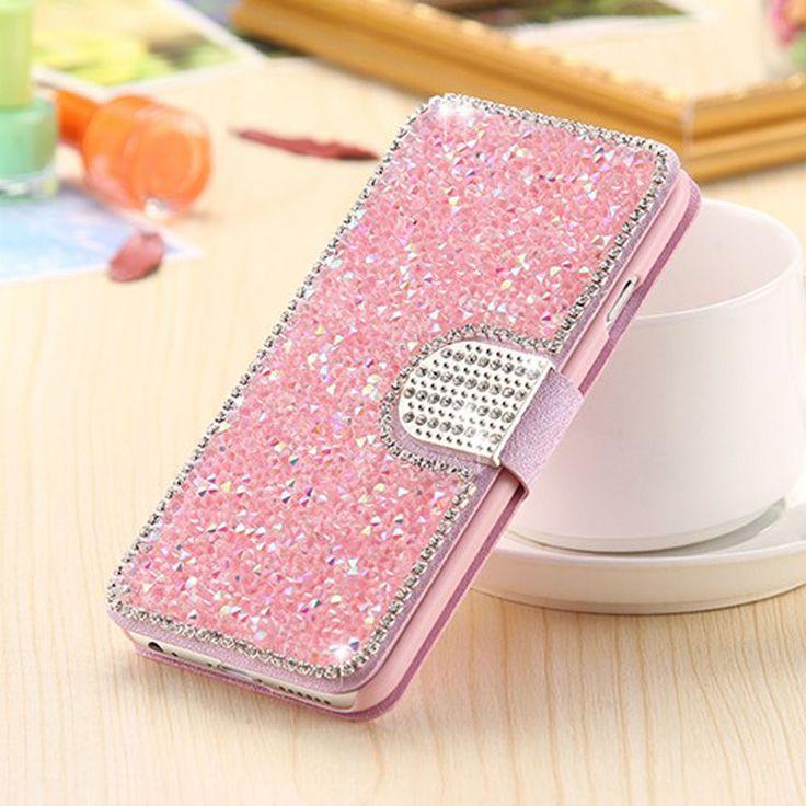 Bling rhinestone diamond pu leather flip wallet case cover