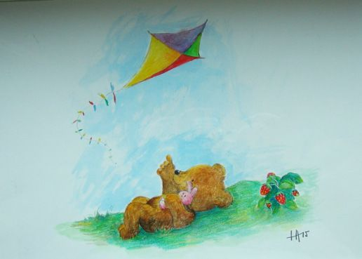 Acrylic painting for small child.  Bear and bunny friend looking at a kite.