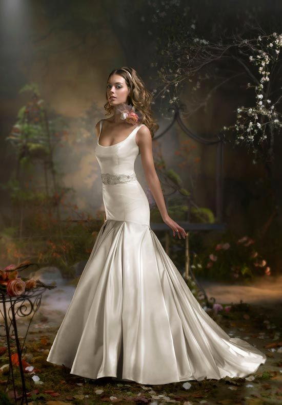 lazaro scoop neck straps trumpet pleated gown beaded belt at waist satin sleeveless wedding bridal gown