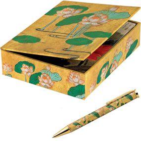 Lotus Notecards and Ballpoint Pen Set