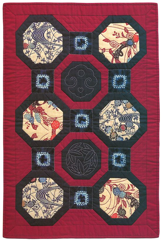 "Japanese Octogonal Block Quilt."" Two octagonal sashiko blocks ...this was the first quilt I ever tried to reproduce."