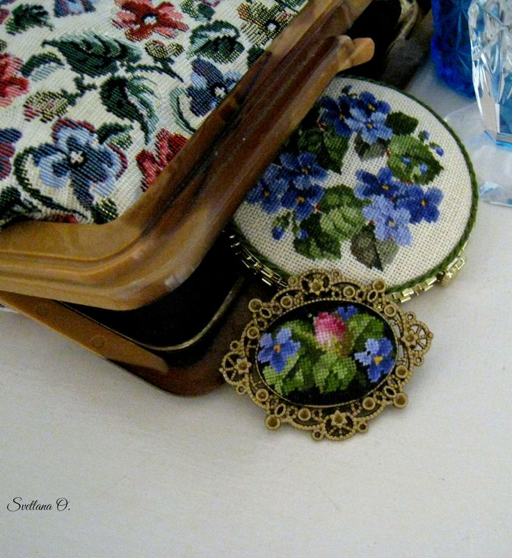 Petit point,brooch and pocket mirror.