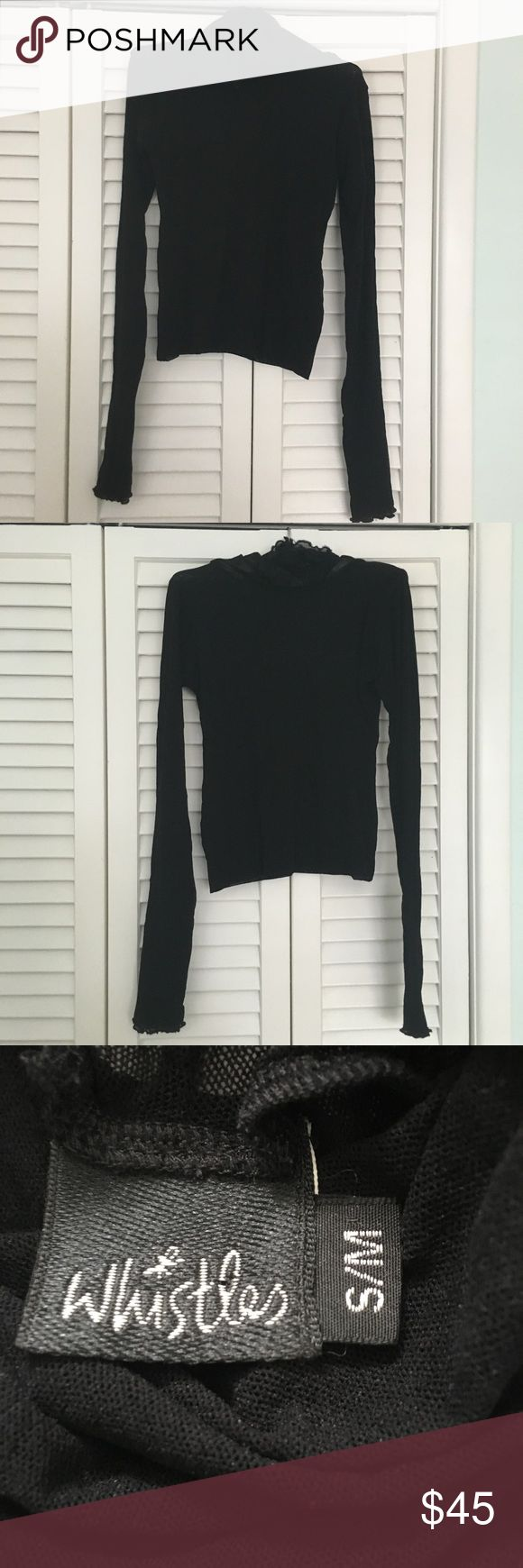 Mesh top Cowl Neck double faced body mesh top.  Black size SM. Perfect pristine condition. Never worn! Whistles Tops Blouses