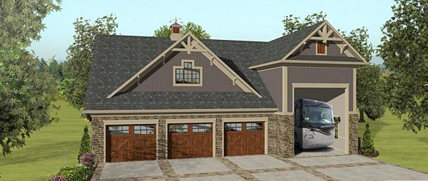 Garage Plan 74843 | Plan with 1207 Sq. Ft., 2 Bedrooms, 1 Bathrooms, 3 Car Garage
