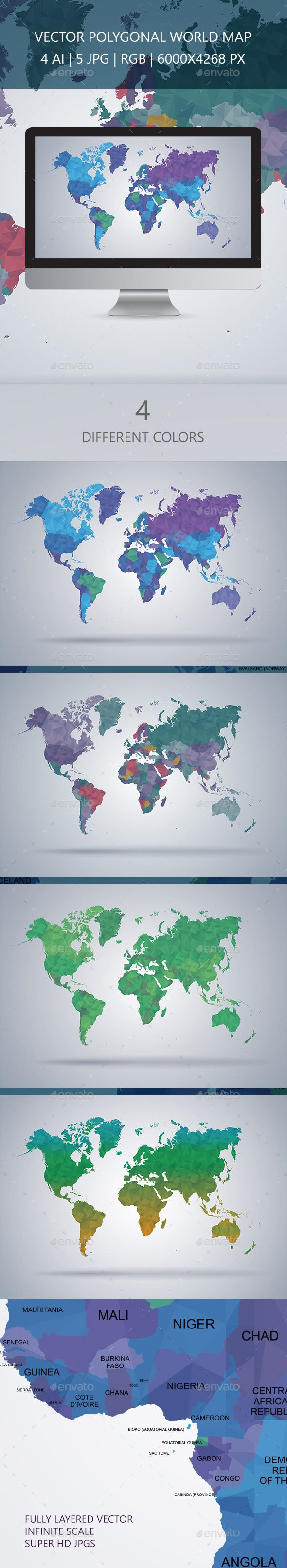World Map Polygon Vector 11 best P3