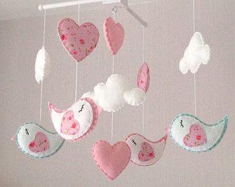 Bebé móvil corazón móvil mobile cloud rosa y por lovefeltmobiles
