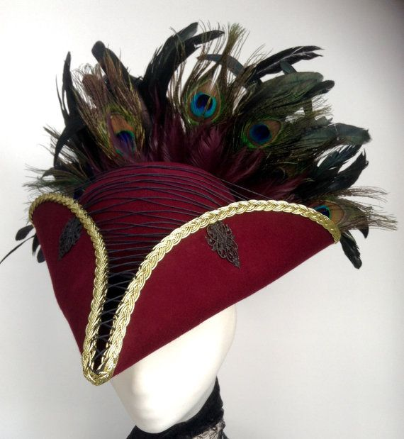 Steampunk pirate hat burgundy tricorn by Blackpin on Etsy