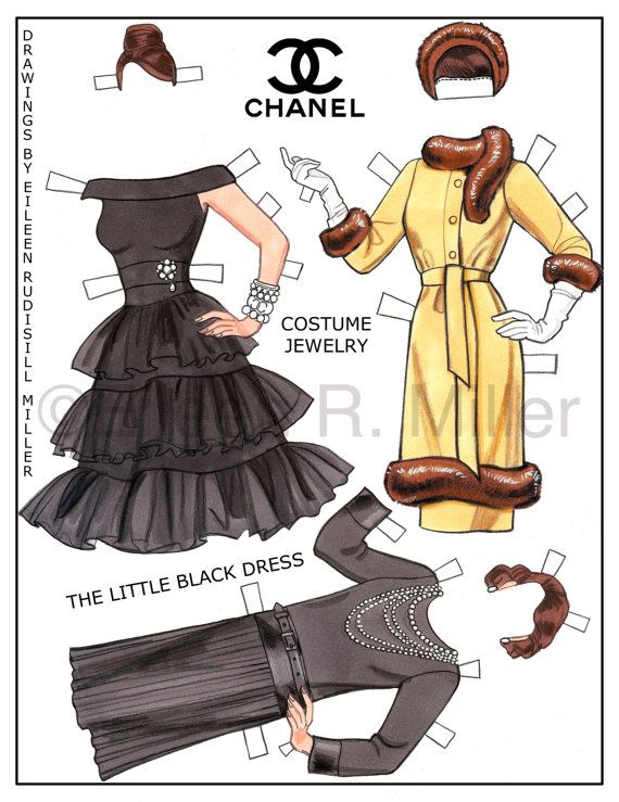 Chanel moda muñeca de papel por PaperDollsbyERMiller en Etsy